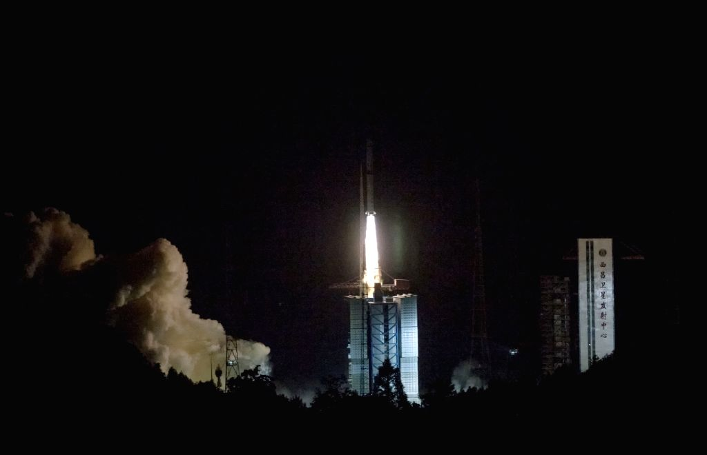 XICHANG, May 21, 2018 - A Long March-4C rocket carrying a relay satellite, named Queqiao (Magpie Bridge), is launched at 5:28 a.m. Beijing Time from southwest China's Xichang Satellite Launch Center, ...