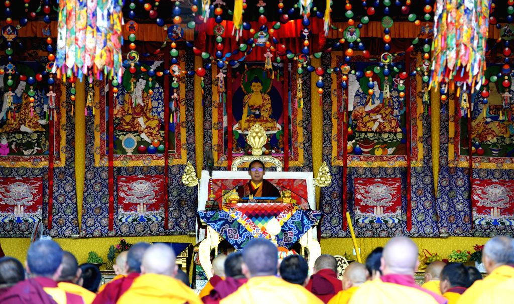 XIGAZE, July 5, 2016 - The 11th Panchen Lama, Bainqen Erdini Qoigyijabu, performs an abhisecaa Tibetan strength-giving ceremonyfor thousands of monks and pilgrims at the Zhaxi Lhunbo Lamasery ...