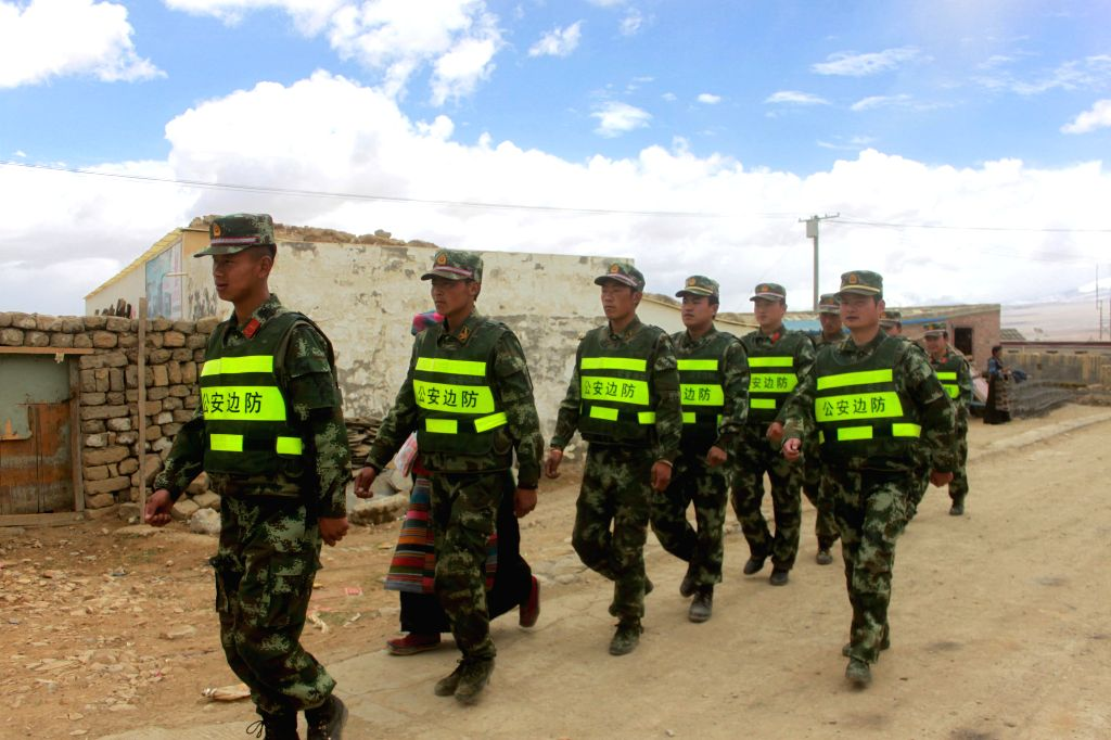 XIGAZE, May 22, 2016 - Soldiers are on patrol after an earthquake hit Dinggye County of Xigaze City, southwest China's Tibet Autonomous Region, May 22, 2016. Two 5.3-magnitude earthquakes hit the ...