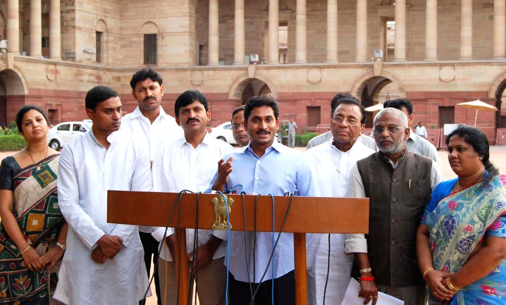 Y S R Congress chief YS Jaganmohan Reddy addresses press after meeting President Pranab Mukherjee at Rashtrapati Bhawan in New Delhi on July 10, 2014.