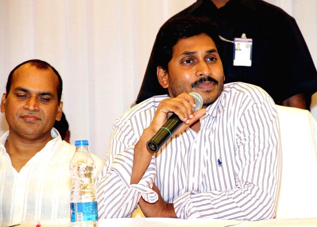 Y S R Congress chief YS Jaganmohan Reddy during a party meeting in Bandlamudi gardens of Andhra Pradesh's Guntur district on August 1, 2014. - Jaganmohan Reddy