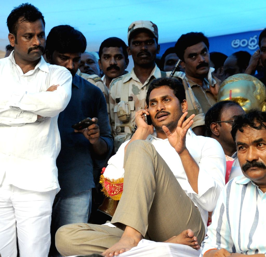 Y S R Congress chief YS Jaganmohan Reddy during a demonstration at Jantar Mantar in New Delhi, on Aug 10, 2015. - Jaganmohan Reddy