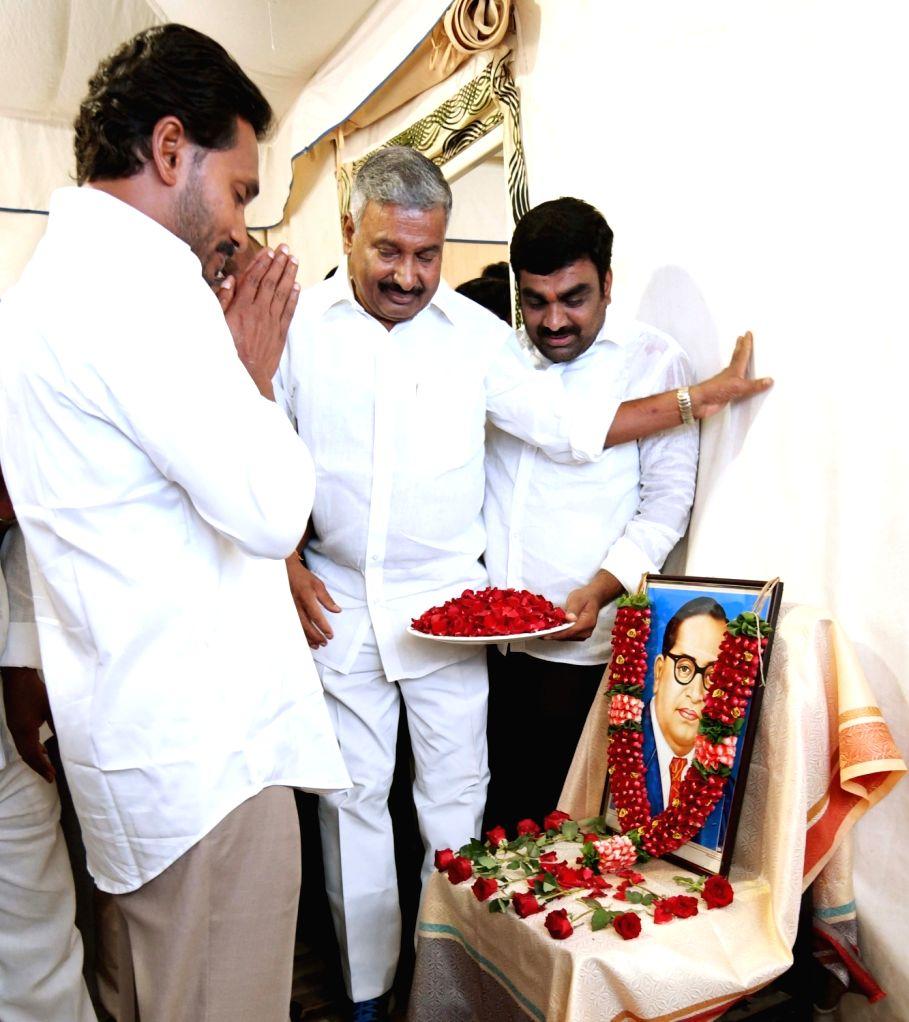 Y S R Congress chief YS Jaganmohan Reddy pays tributes to Dr. B.R. Ambedkar on his 127th birth anniversary, in Hyderabad on April 14, 2018. - Jaganmohan Reddy