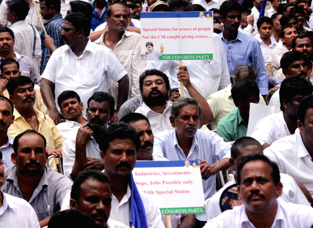 Y S R Congress workers stage a demonstration at Jantar Mantar in New Delhi, on Aug 10, 2015.