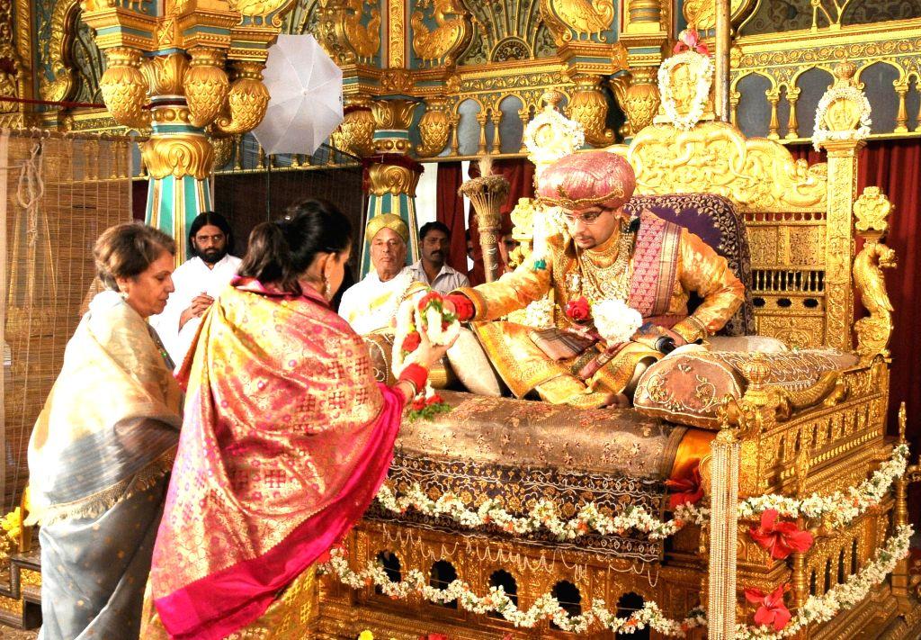 Yaduveer Krishnadatta Chamaraja Wadiyar during a private durbar as part of 11-days Dasara festivities at the Mysore Palace in Mysuru on Oct 1, 2016.