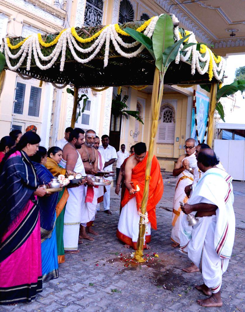 Yaduveer Krishnadatta Chamaraja Wadiyar performs Chappara puja as part of his wedding rituals with Trishikha Kumari at the Mysore Palace, in Mysuru, on June 25, 2016.