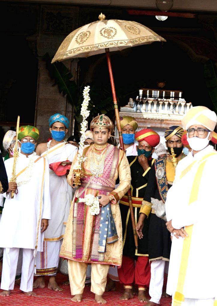 Yaduveer Krishnadatta Chamaraja Wadiyar, the scion of the erstwhile Royal family, performs Banni puja as part of Vijayadashami celebrations at Mysuru Palace on Oct 26, 2020.