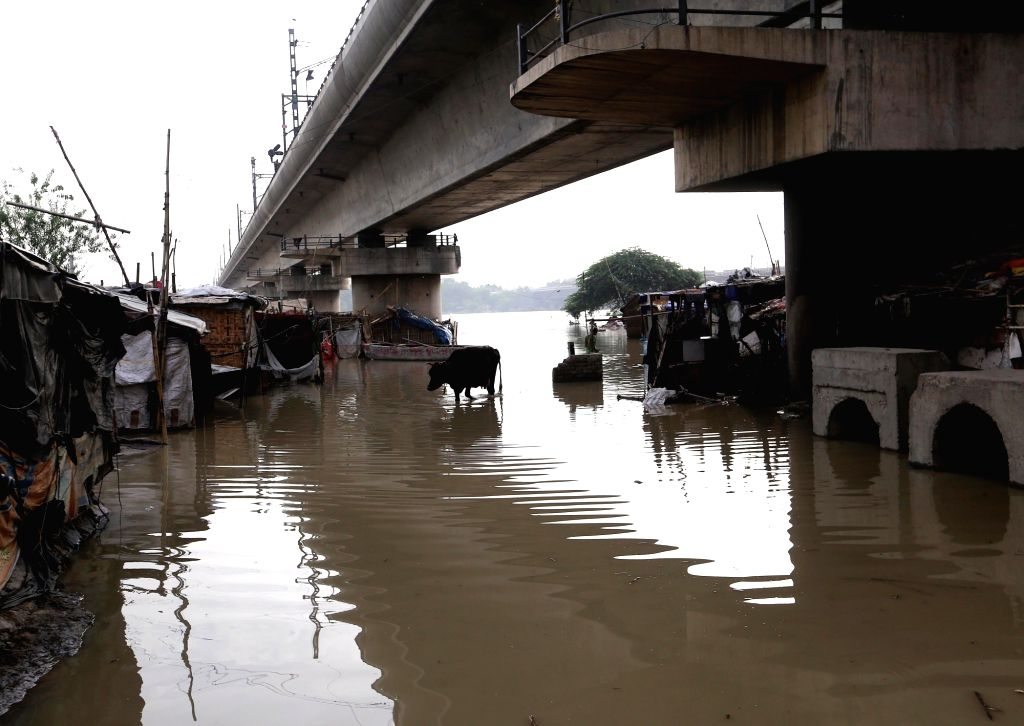 Yamuna water inundates low lying areas of New Delhi on July 31, 2018.