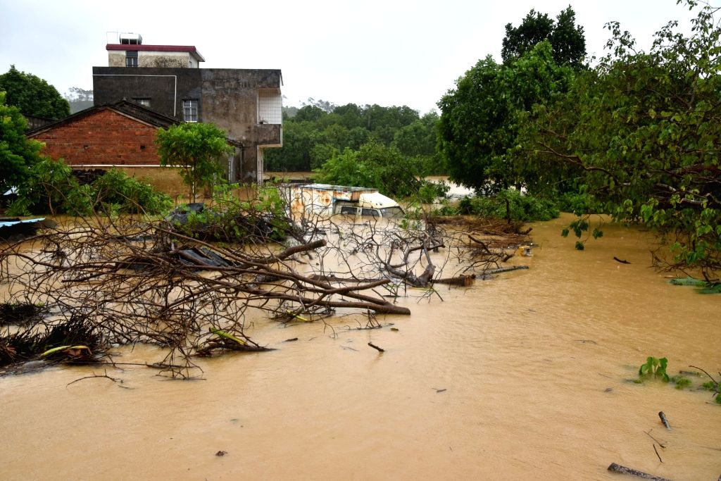 YANGJIANG, Sept. 17, 2018 - Photo taken on Sept. 17, 2018 shows the flood-hit Huwei Village in Yangchun City, south China's Guangdong Province. A rain-triggered flood hit Yangchun due to the ...