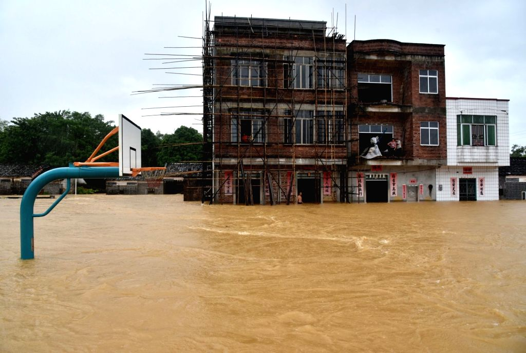 YANGJIANG, Sept. 17, 2018 - Photo taken on Sept. 17, 2018 shows the flood-hit Pingxi Village in Yangchun City, south China's Guangdong Province. A rain-triggered flood hit Yangchun due to the ...