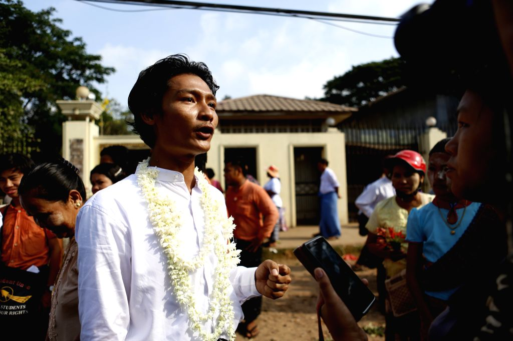 YANGON, April 17, 2016 - A released prisoner (L) receives an interview outside a jail in Yangon, Myanmar, April 17, 2016. Myanmar's government granted amnesty to 83 prisoners Sunday, the country's ...