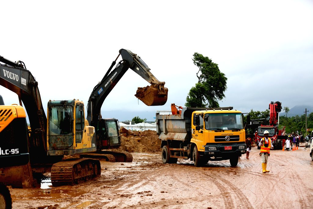 YANGON, Aug. 11, 2019 - Clean-up operations are carried out at monsoon landslide-hit area in Mon state, Myanmar, Aug. 11, 2019. The death toll from a monsoon landslide rose to 51 so far in Myanmar's ...