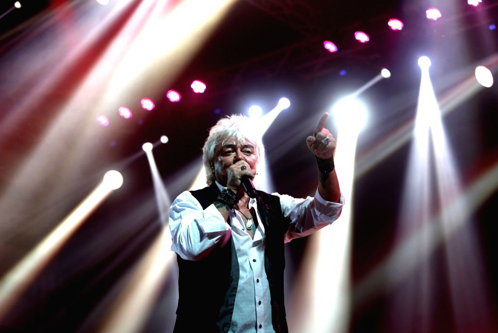 Russell Hitchcock of the rock band Air Supply performs during the Air Supply Live in Myanmar concert at Myanmar Convention Center (MCC) in Yangon, Aug. 15, ...