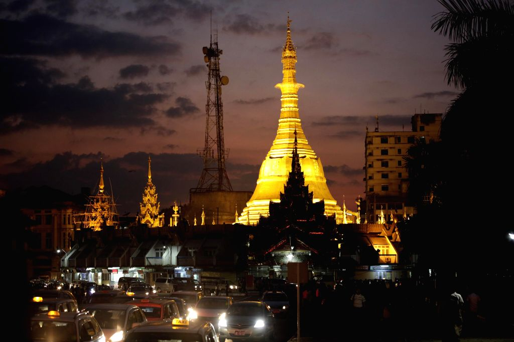 Photo taken on Dec. 12, 2014 shows a view of the Sule Pagoda in downtown Yangon, Myanmar. Myanmar implemented a 20-year project with four phases aimed at becoming an