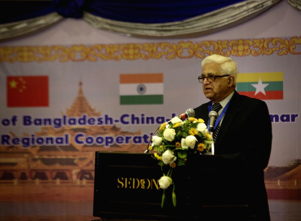 Indian delegation leader and former ambassador Eric Gonsalves delivers a speech during the opening ceremony of the 12th forum of Bangladesh, China, India and Myanmar
