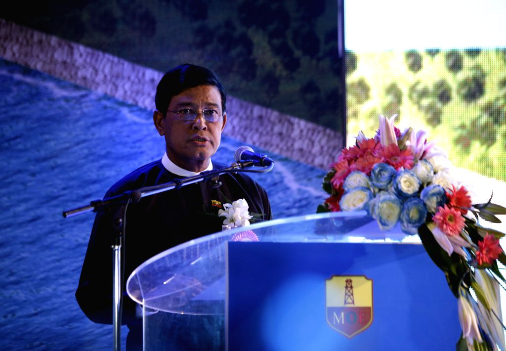 Myanmar Vice President U Nyan Tun delivers a speech during the soft opening ceremony of commissioning of Ma-De crude oil unloading terminal and pre-commissioning of .