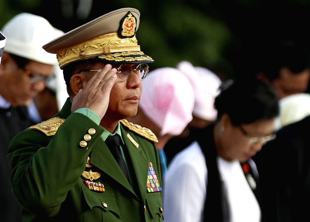 YANGON, July 19, 2016 - Commander-in-Chief of the Defense Services Senior-General Min Aung Hlaing attends a ceremony to mark the 69th Martyrs' Day in Yangon, Myanmar, July 19, 2016. Myanmar held a ...