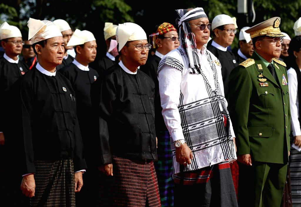 YANGON, July 19, 2016 - Myanmar's Commander-in-Chief of the armed forces Senior-General Min Aung Hlaing (1st R), Myanmar's Vice President U Myint Swe (2nd L), Speaker of the House of Representatives ...