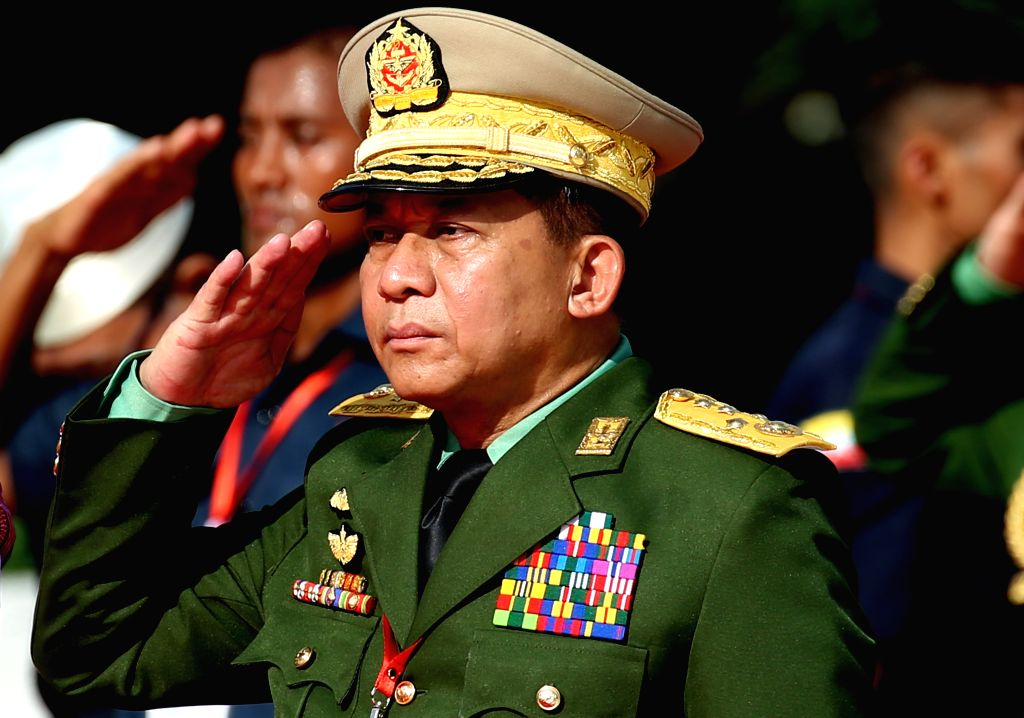 YANGON, July 19, 2019 - Myanmar's Commander-in-Chief of the Defense Services Sen-Gen Min Aung Hlaing salutes during the 72nd Martyrs' Day in Yangon, Myanmar, July 19, 2019. Myanmar held a state ...