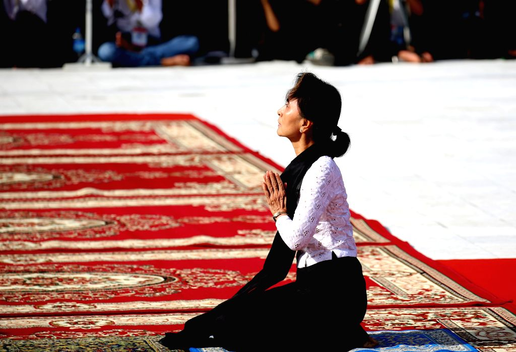 YANGON, July 19, 2019 - Myanmar's State Counselor Aung San Suu Kyi attends a ceremony to mark the 72nd Martyrs' Day in Yangon, Myanmar, July 19, 2019. Myanmar held a state ceremony here Friday to ...