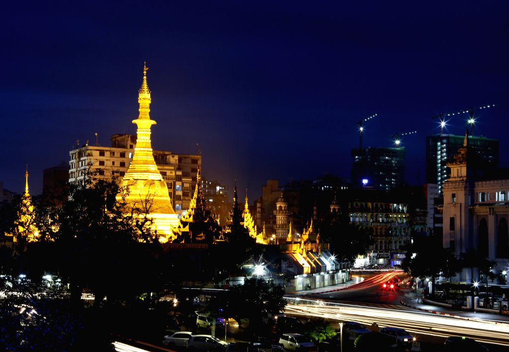 YANGON, July 22, 2016 - Photo taken on July 22, 2016, shows the Sule Pagoda in downtown Yangon, Myanmar. Buddhists make up 87.9 percent of Myanmar's population, government census figures showed on ...