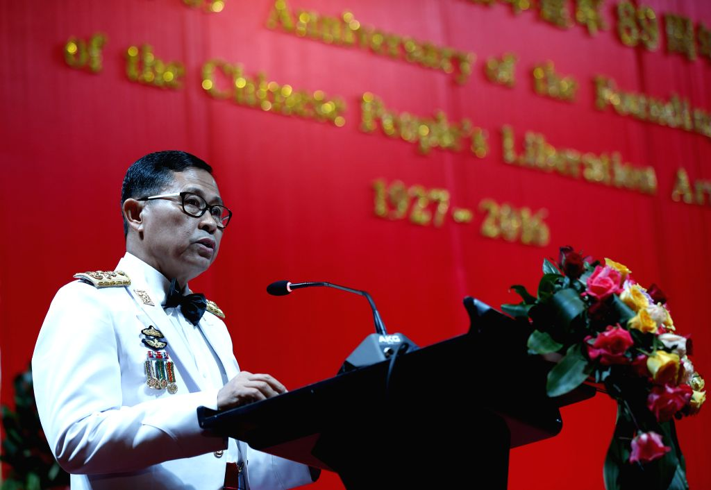 YANGON, July 30, 2016 - Deputy Commander in Chief of the Myanmar Defence Services and Commander in Chief of the Myanmar Army Vice Senior General Soe Win speaks during a reception to mark the 89th ...