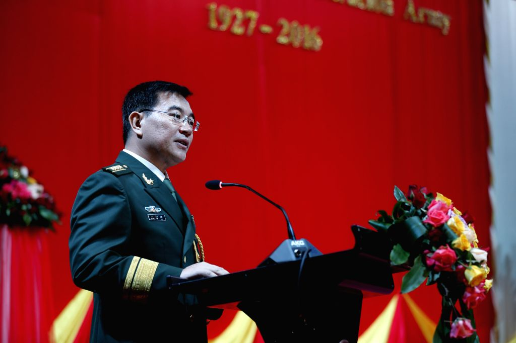 YANGON, July 30, 2016 - Senior Colonel Wang Jinbo, military attache of the Chinese embassy to Myanmar speaks during a reception to mark the 89th anniversary of the founding of Chinese People's ...