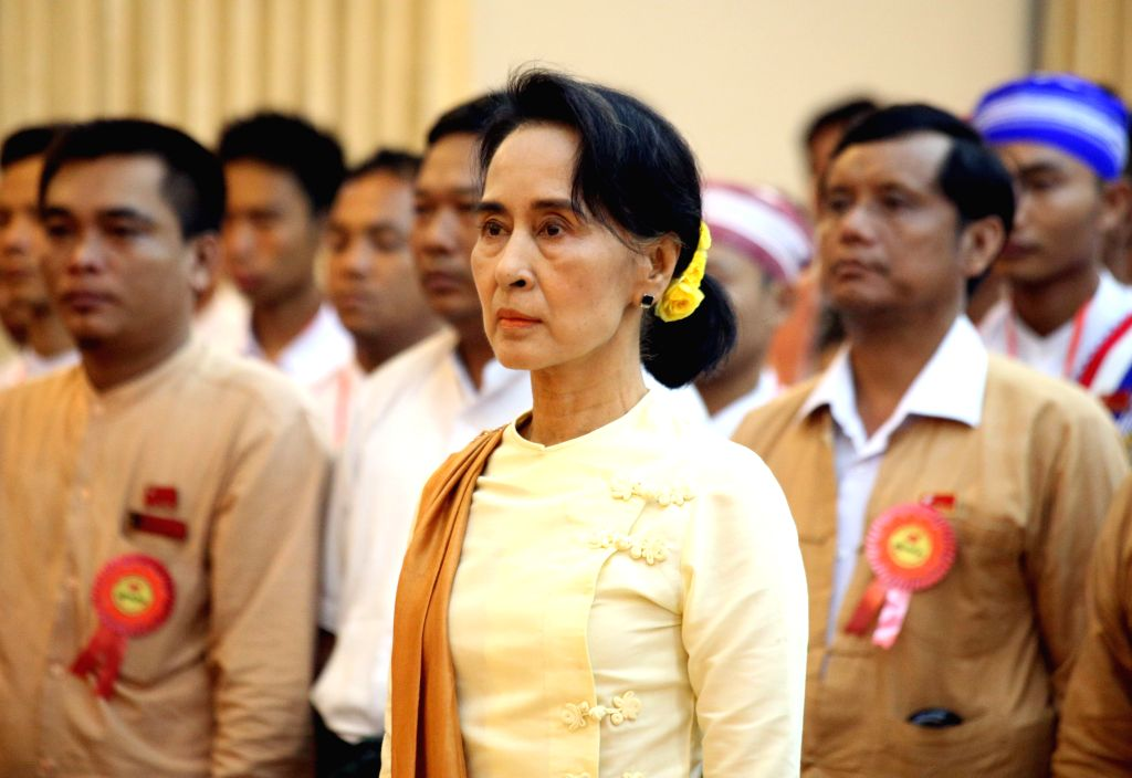 Myanmar opposition leader Aung San Suu Kyi attends the opening ceremony of the nationwide youth conference for National League for Democracy (NLD) in Yangon, Myanmar,
