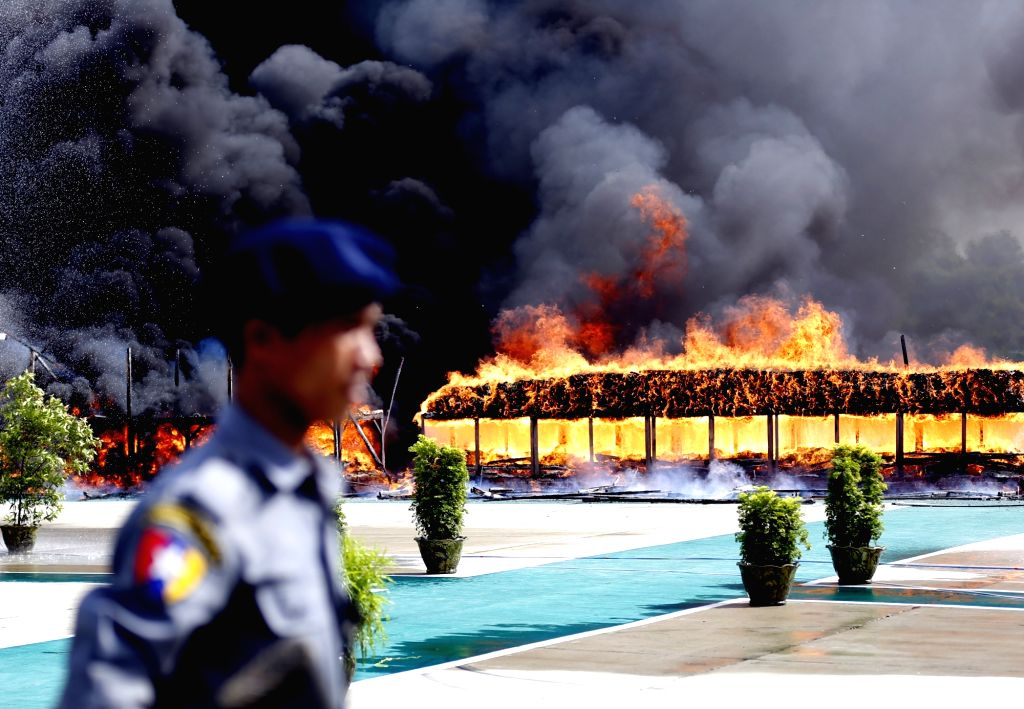YANGON, June 26, 2017 - Seized drugs are burnt in Yangon, Myanmar, June 26, 2017. Myanmar authorities ceremonially burned 25 kinds of seized narcotic drugs in Yangon on Monday to mark the ...
