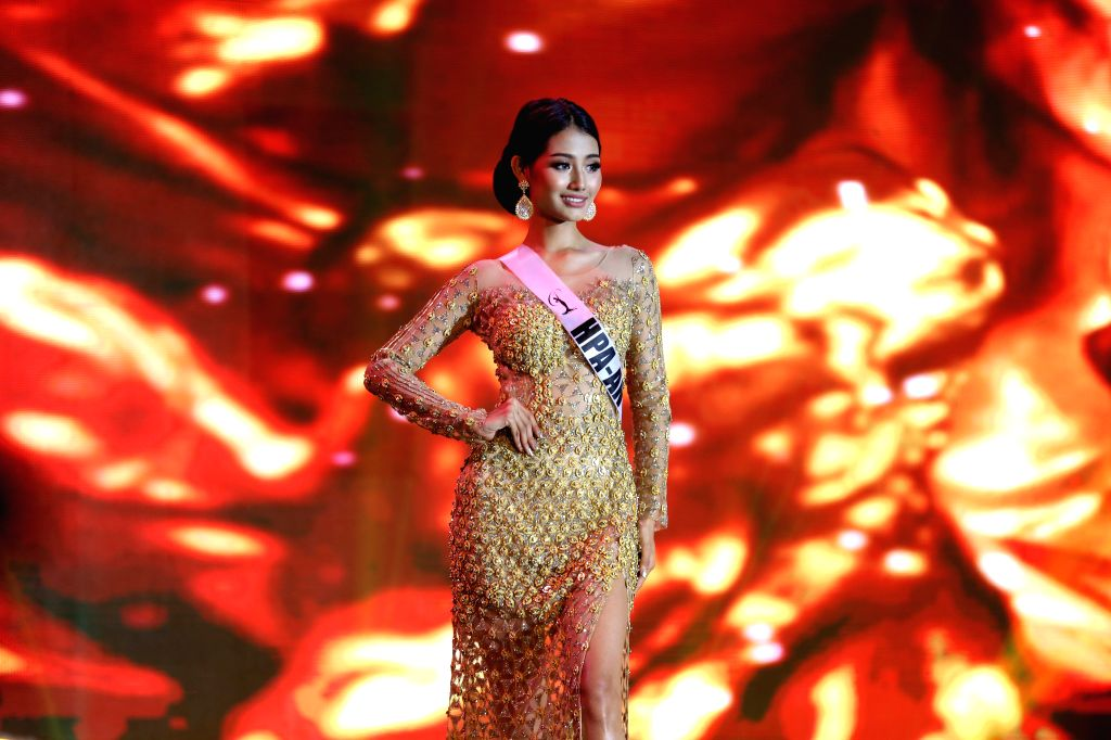 "YANGON, May 31, 2019 - Swe Zin Htet participates in Miss Universe Myanmar 2019 in Yangon, Myanmar, May 31, 2019. Swe Zin Htet, from Myanmar's Kayin state, was crowned the title of ""Miss Universe ..."