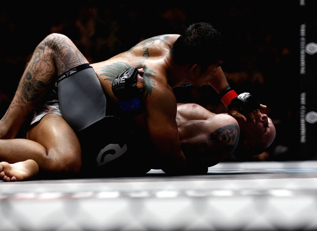 YANGON, Oct. 8, 2016 - Mixed Martial Arts (MMA) fighter Aung La N Sang (top), also known as the Myanmar Python, fights against Michal Pasternak of Poland during the ONE Championship at the Thuwanna ...