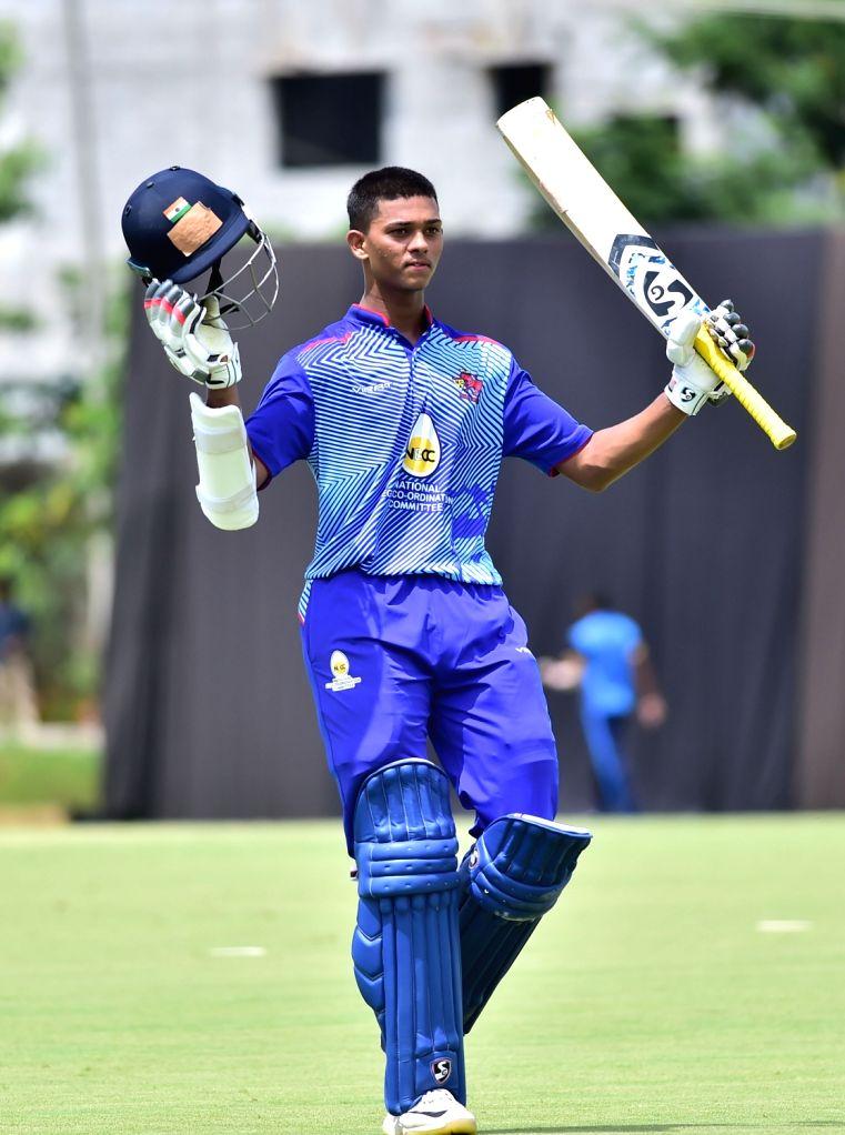 Yashasvi Jaiswal of Mumbai celebrates his 200 runs during Elite Group A Vijay Hazare Trophy match between Mumbai and Jharkhand at Aluru Grounds, in Bengaluru on Oct 17, 2019.