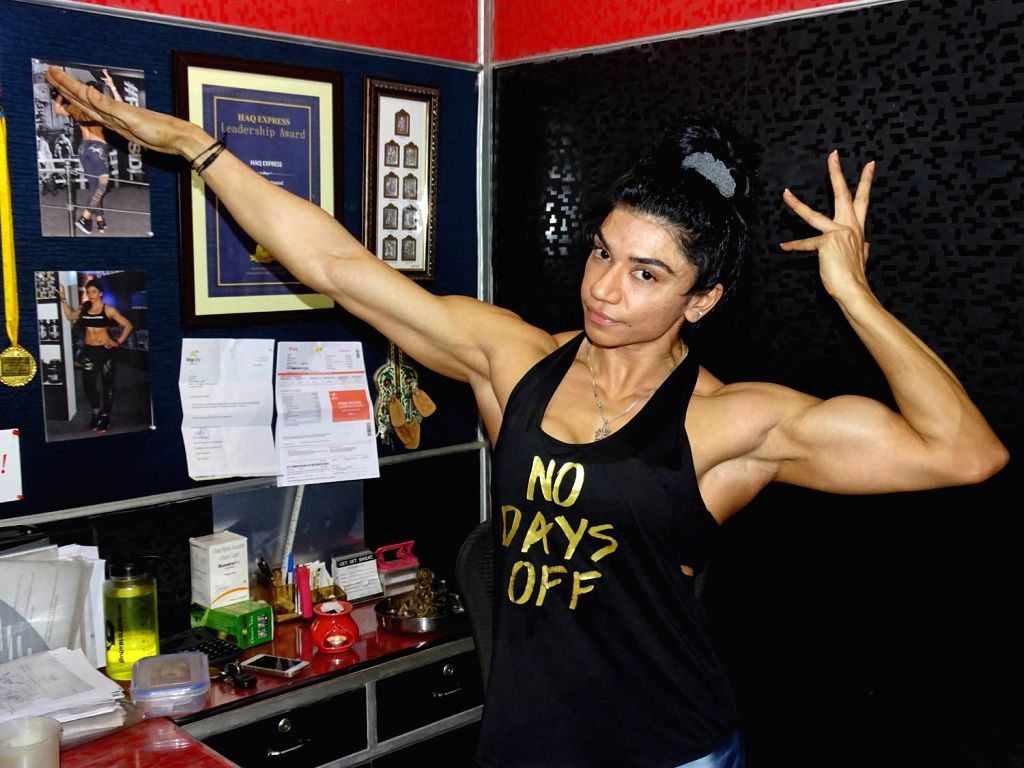 Yashmeen Manak, who was adjudged Miss India 2016 at a bodybuilding competition, shows off her biceps.