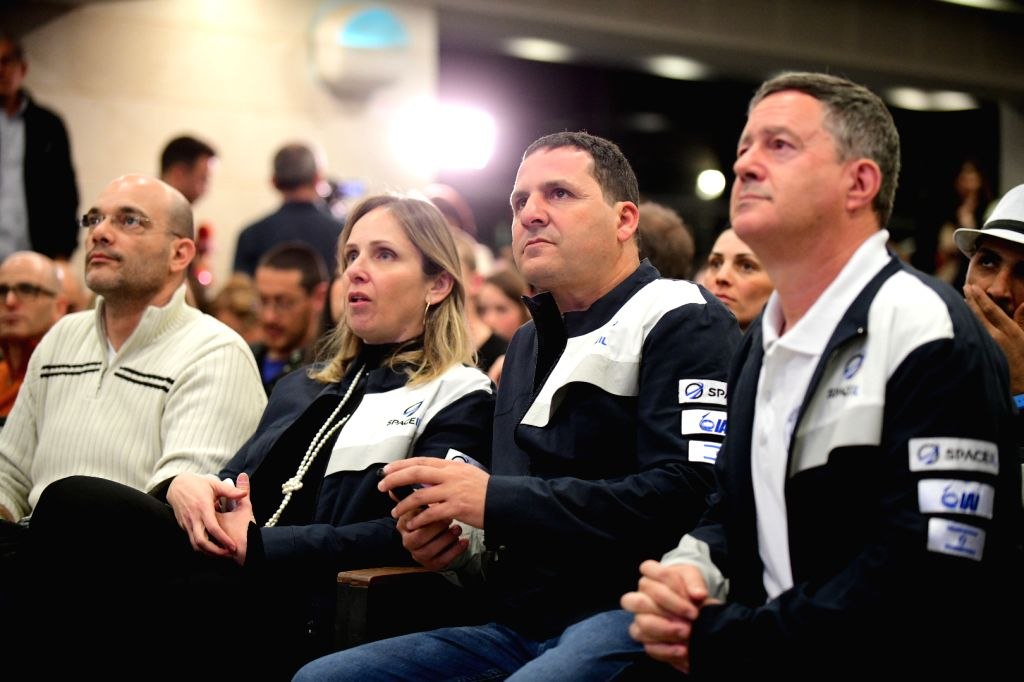 YEHUD, Feb. 22, 2019 - People watch the launch of Israel's spacecraft Beresheet at the Israel Aerospace Industries (IAI) in Israel's central town of Yahud on Feb. 22, 2019. Israel's first spacecraft ...