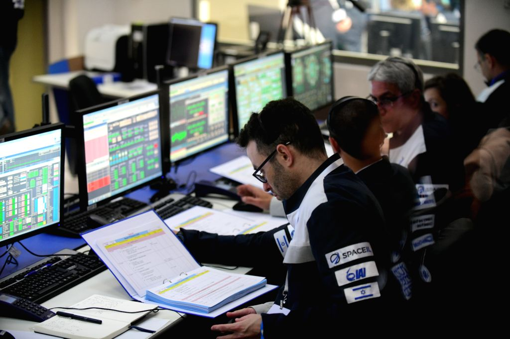 YEHUD, Feb. 22, 2019 - Staff members with the Israel Aerospace Industries (IAI) monitor the launch of Israel's spacecraft Beresheet at the IAI control room in Israel's central town of Yahud on Feb. ...