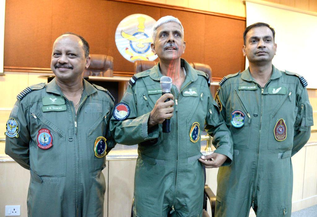 Yelahanka Air Force Station Air Officer Commanding Air Commondore Ravuri Sheetal addresses a press conference regarding Aero India 2019 Show in Yelahanka on Jan 30, 2019.