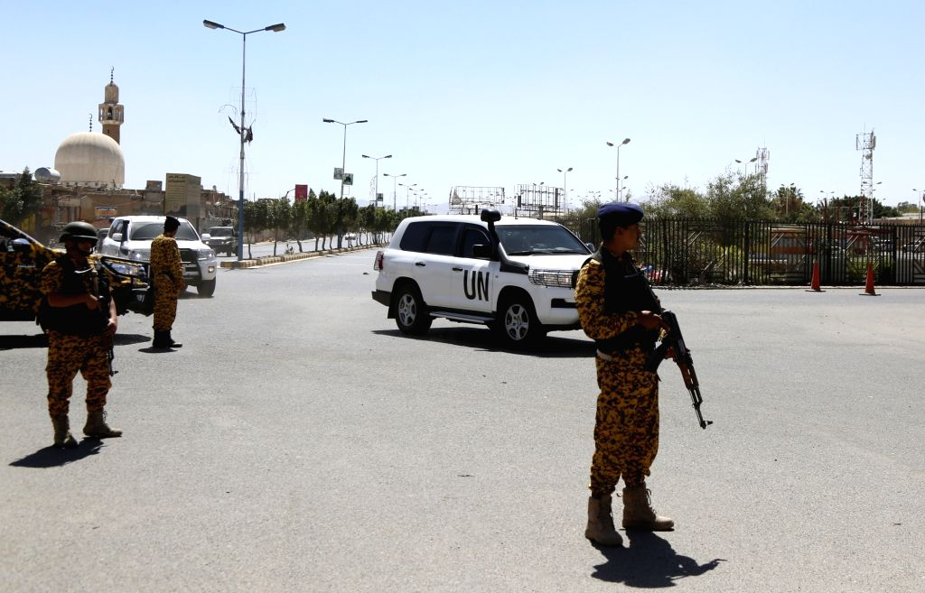 YEMEN, Feb. 18, 2019 - Security forces guard the entrance of the Sanaa International Airport as the convoy of UN special envoy to Yemen Martin Griffiths arrives at the airport in Sanaa, Yemen, on ...