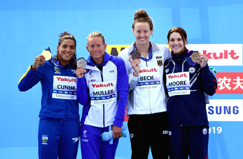 YEOSU, July 17, 2019 - (From L to R)Gold medalist Ana Marcela Cunha of Brazil, silver medalist Aurelie Muller of France, bronze medalists Leonie Beck of Germany and Hannah Moore of the United States ...