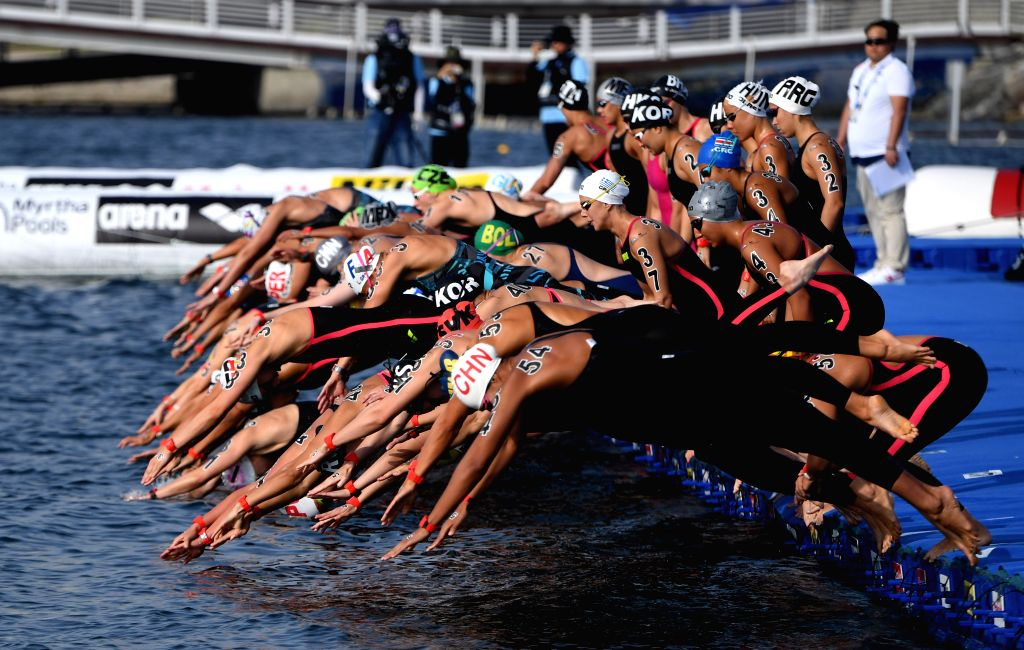 YEOSU, July 17, 2019 - Swimmers start during the women's 5km open water swimming at the 2019 FINA World Championships in Yeosu, South Korea, July 17, 2019.