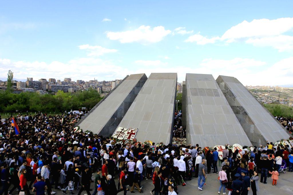 YEREVAN, April 24, 2018 (Xinhua) -- People attend a ceremony marking the 103rd anniversary of the Armenian Genocide, in Yerevan, Armenia, on April 24, 2018. Armenia on Tuesday commemorated the 103rd anniversary of the genocide by the Ottoman Empire,