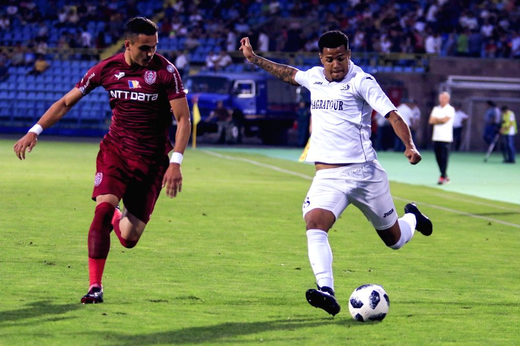YEREVAN, Aug 10, 2018 - Jefferson (R) of Armenia's Alashkert vies with Cristian Manea of Romania's CFR during the UEFA Europa League third qualifying round football match between Alashkert and CFR in ...