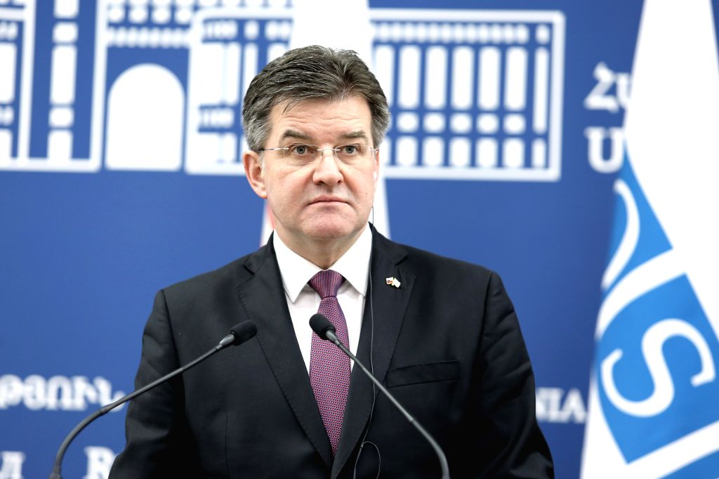YEREVAN, March 14, 2019 - Miroslav Lajcak, chairman-in-office of the Organisation for Security and Cooperation in Europe (OSCE) and Slovak foreign minister, attends a press conference in Yerevan, ...