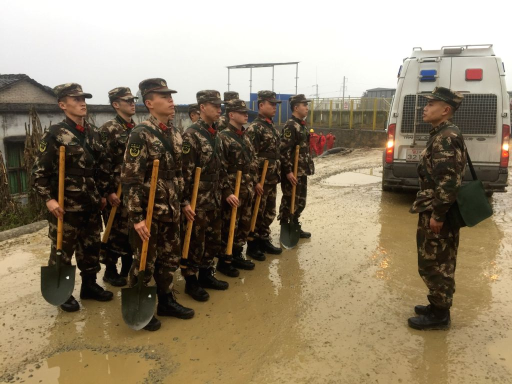 YIBIN, Jan. 3, 2019 - Rescuers prepare to head for the earthquake-hit Gongxian County of Yibin City in southwest China's Sichuan Province, Jan. 3, 2019. A 5.3-magnitude earthquake jolted Gongxian ...