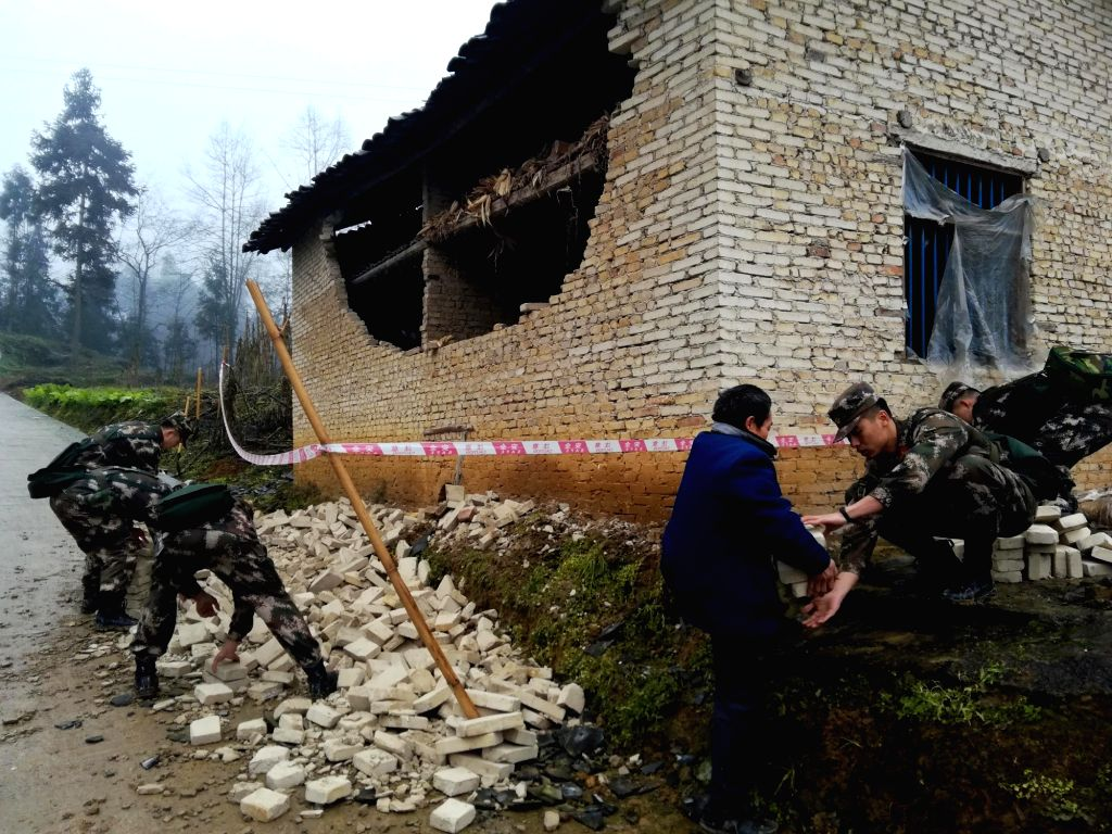 YIBIN, Jan. 3, 2019 - Rescuers work at the earthquake-hit Yangjia Village of Yuhe Township in Gongxian County, Yibin City in southwest China's Sichuan Province, Jan. 3, 2019. A 5.3-magnitude ...