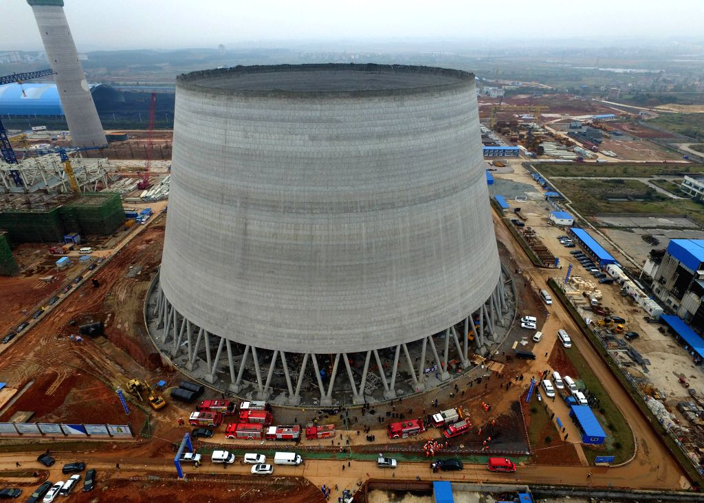 YICHUN, Nov. 24, 2016 - Aerial photo taken on Nov. 24, 2016 shows the accident site at the Fengcheng power plant in Yichun City, east China's Jiangxi Province. Sixty-seven people have been confirmed ...