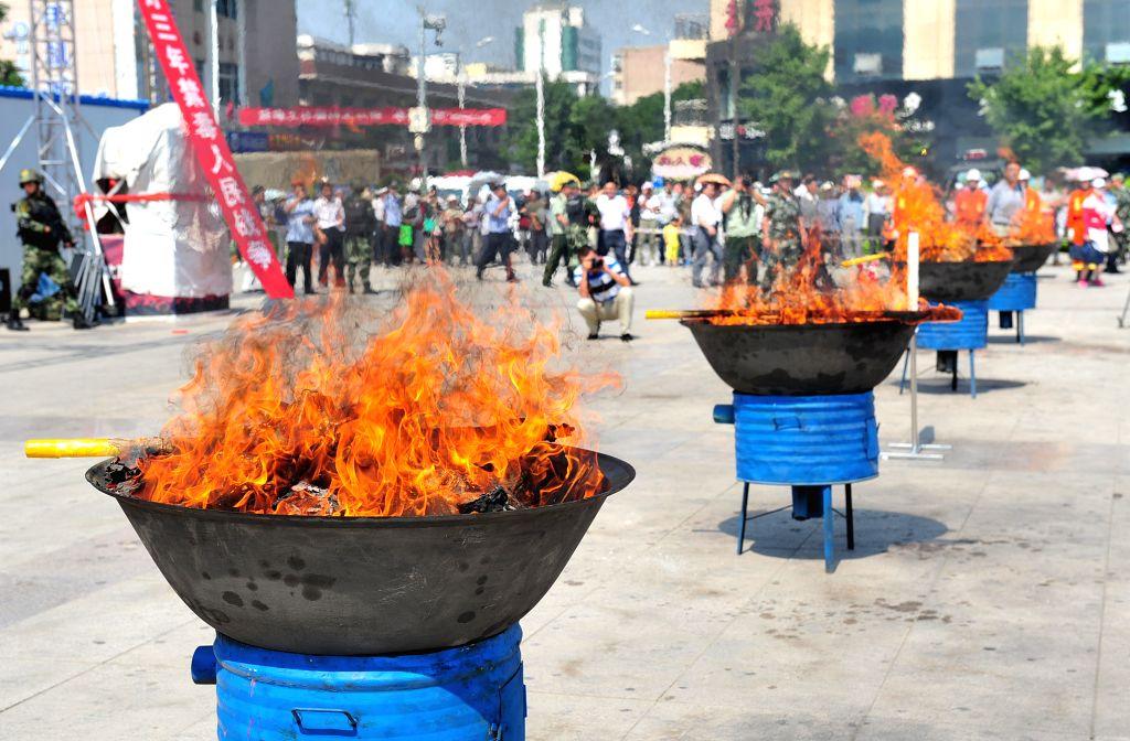 Drugs are burnt on International Day Against Drug Abuse and Illicit Trafficking in Wuzhong City, northwest China's Ningxia Hui Autonomous Region, June 26, 2014. ...
