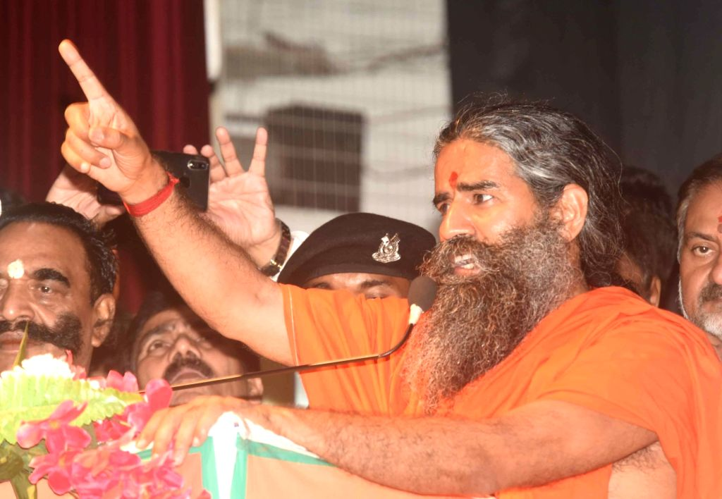 Yoga Guru Baba Ramdev addresses at public rally, in Patna, on April 26, 2019.