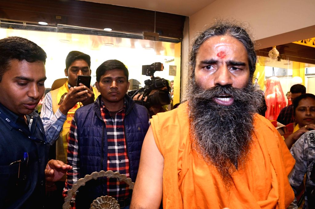 Yoga guru Baba Ramdev at the inauguration of a clothing showroom in Patna, on March 5, 2019.