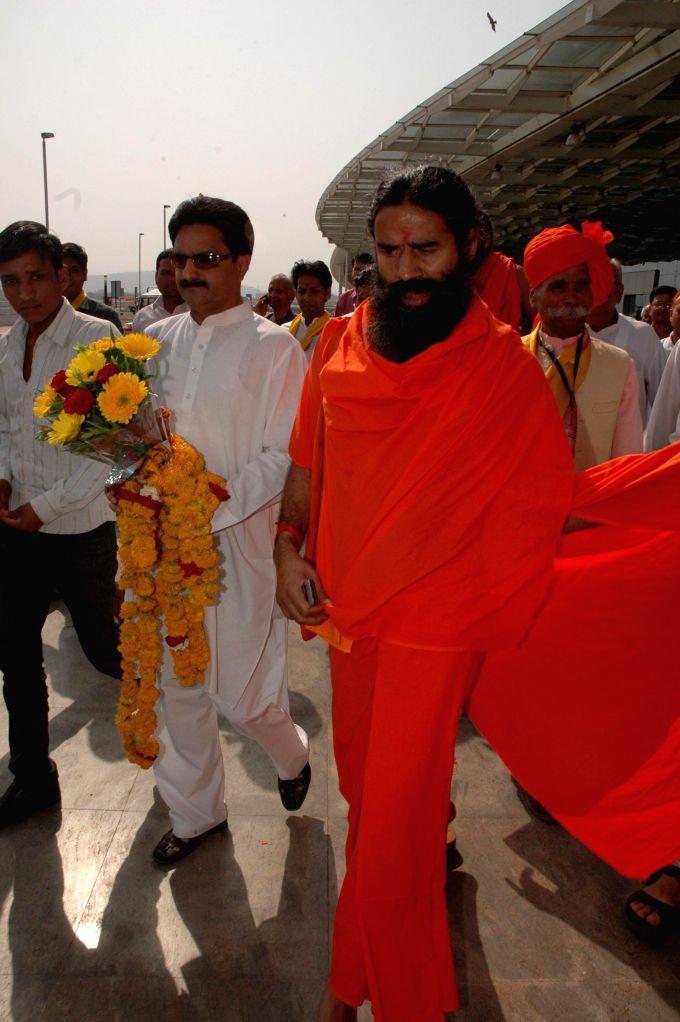 Yoga guru Ramdev arrives in Bhopal on April 17, 2014.