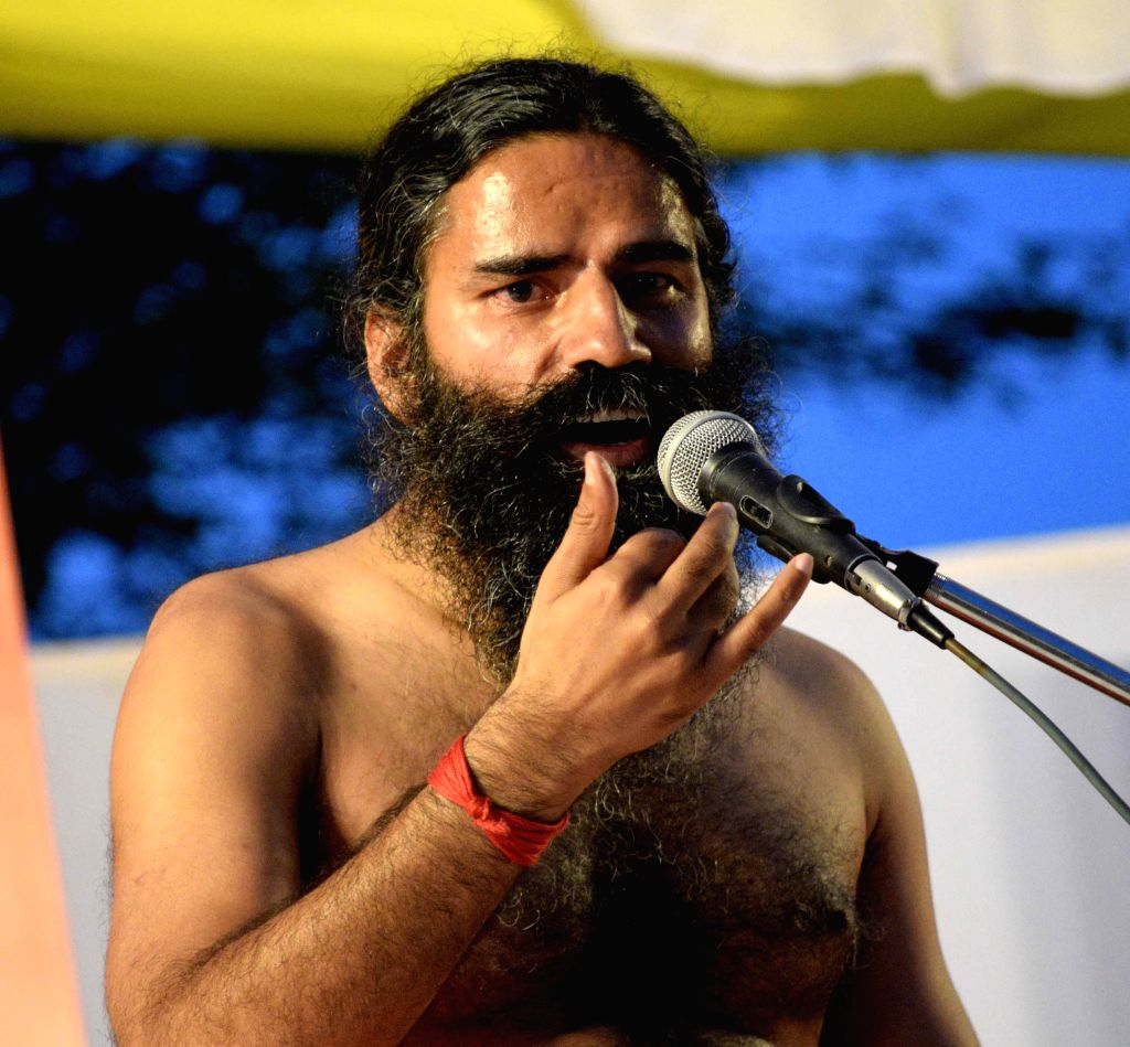 Yoga guru Ramdev during a a yoga session at a camp in Amritsar on April 22, 2014.